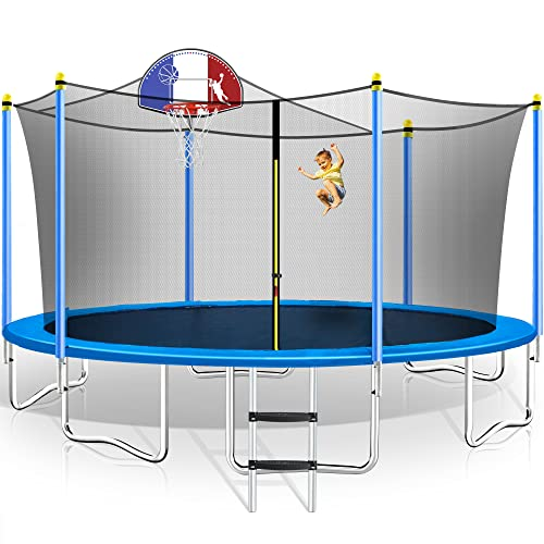 Merax 15 FT Trampoline with Safety Enclosure Net, Basketball Hoop and Ladder - 2019 Upgraded - Kids Basketball Trampoline (15 Feet Blue)